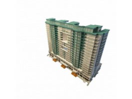 Modern apartment block 3d model