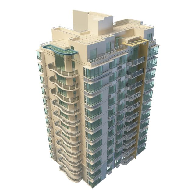 3D Architecture Model Of Residential Apartment Block. Available 3D File  Format: .max (3d Studio Max 2010) Standard Scanline Renderer. Texture  Format: Jpg