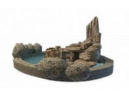 Rock garden and pool 3d model