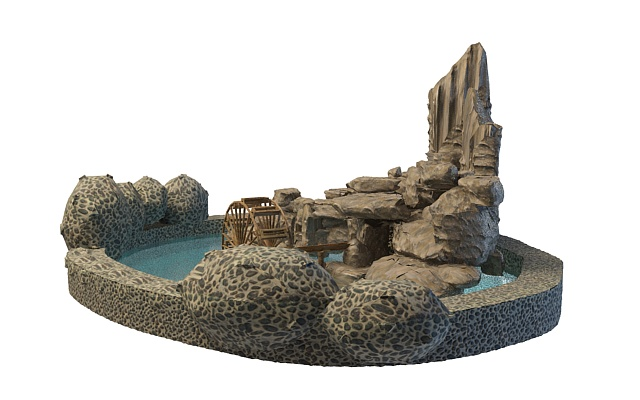 Rock garden and pool 3d model 3ds max files free download for Gardening tools 3d model