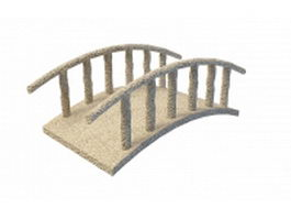 Stone bridge in garden 3d model