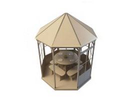 Gazebo dining garden 3d model