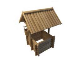 Wooden garden wishing well 3d model