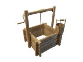 Square wishing well 3d model