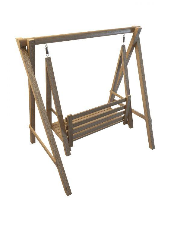 Wooden garden swing seat 3d model 3ds max files free