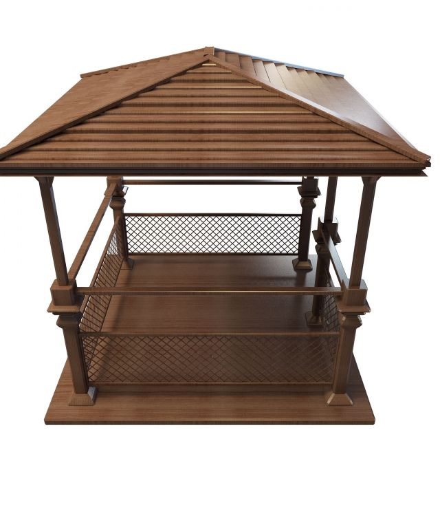 Vintage wooden gazebo 3d model 3ds max files free download for Garden design in 3ds max