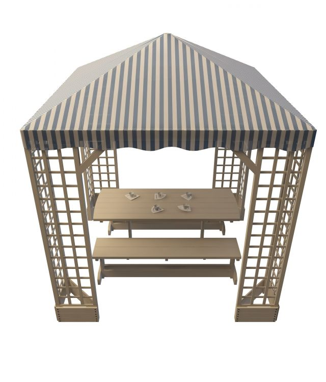 Picnic Table Shelter 3d Model 3ds Max Files Free Download