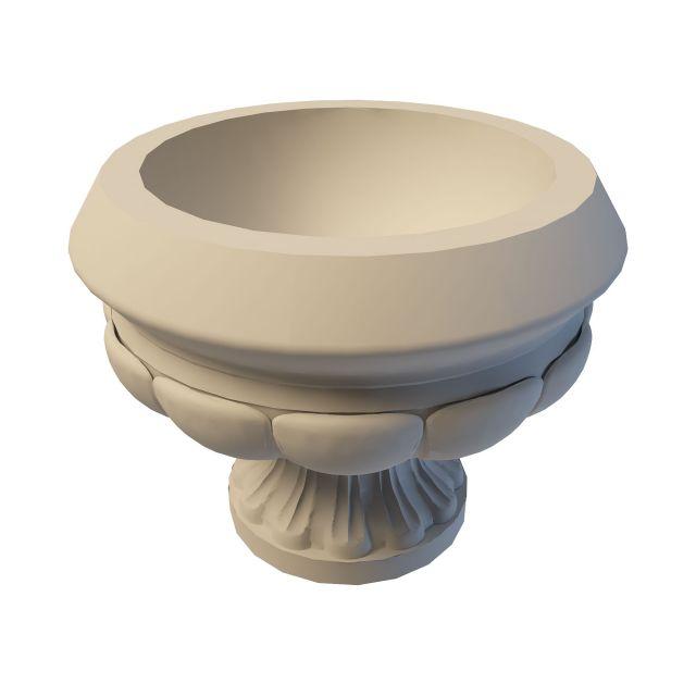 Large limestone urn 3d rendering