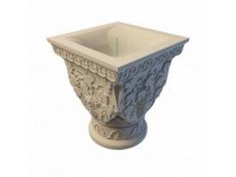 Carved stone flower pot 3d model