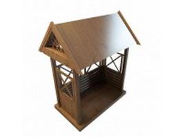 Wooden bench arbor 3d model