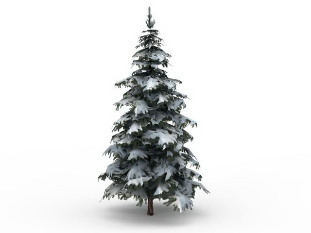 Winter Snow Spruce Tree 3d Model 3ds Max Files Free