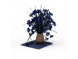 Cornflowers in vase 3d model