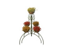 Decorative flower pot stand metal 3d model