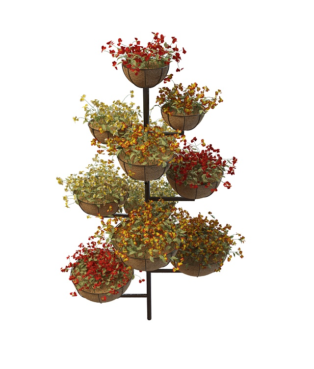 Multi Level Plant Stand With Pot Flower 3d Model 3ds Max
