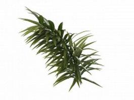 Golden weeping willow branch 3d model