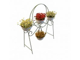 Decorative planter stand with flowers 3d model