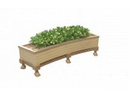 Garden wood flower planter 3d model