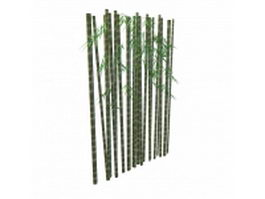 Bamboo trunk with leaves 3d model