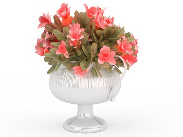 Pink flowers in vase 3d model 3ds max files free download modeling 3d model of pink flowers in a trophy vase available 3d file format x 3d studio max 2010 v ray render texture format jpg mightylinksfo