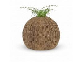 Rattan pot planter 3d model