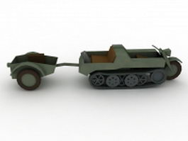 SdKfz 2 Kettenkrad with trailer 3d model