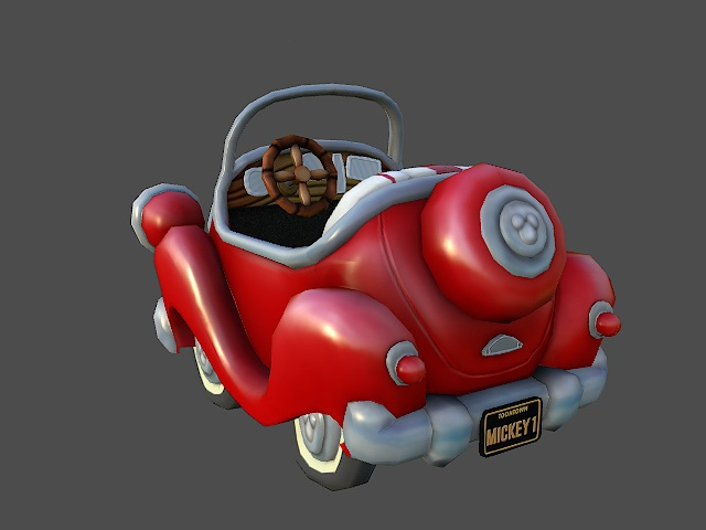 Red Cartoon Car 3d Model 3ds Max Files Free Download Modeling