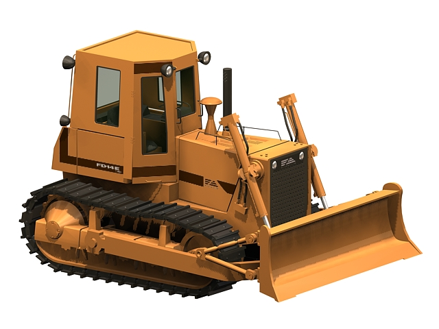 Heavy bulldozer 3d rendering
