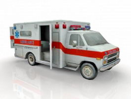Old ambulance truck 3d model