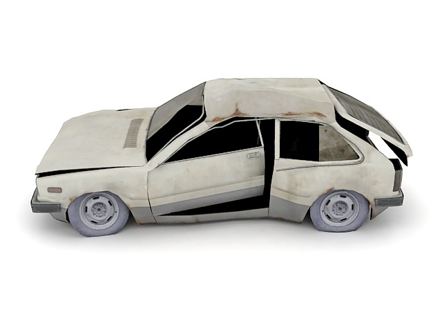 Old Wrecked Car 3d Model 3ds Max Files Free Download Modeling