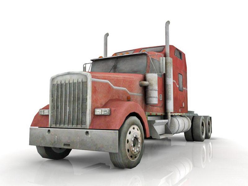 Old Semi Truck 3d Model 3ds Max Files Free Download