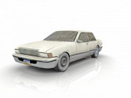 White sedan car 3d model