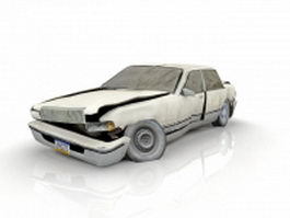 Wrecked sedan car 3d model