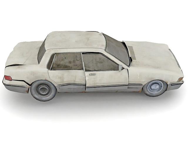 Wrecked sedan car 3d rendering