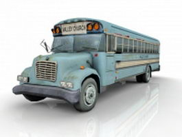 Wrecked church bus 3d model