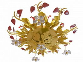 Gold leaf & flower chandelier 3d model