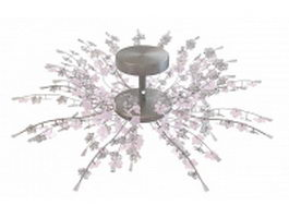 Pink flower chandelier light fixture 3d model