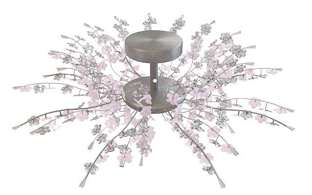 Pink Flower Chandelier Light Fixture 3d Model 3ds Max