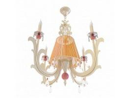 Vintage brass chandelier 3d model