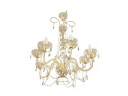Antique brass & crystal chandelier 3d model