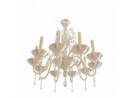 10 Light brass chandelier 3d model
