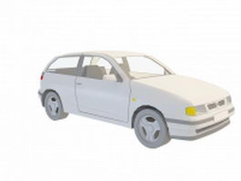 White hatchback car 3d model