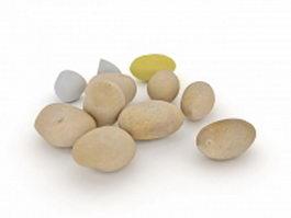 White potato vegetable 3d model