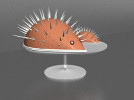 Chocolate hedgehog on plate 3d model
