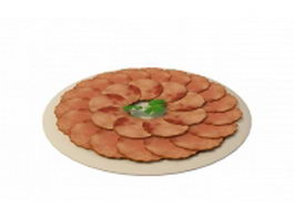 Sliced ham on plate 3d model