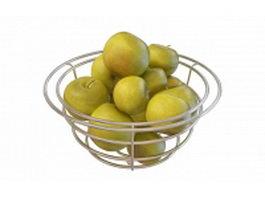 Green apples in wire basket 3d model
