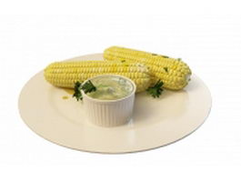Boiled sweet corn 3d model