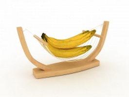 Bananas on boat fruit basket 3d model