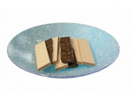 Chocolate wafers in blue plate 3d model