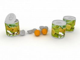 Canned apricots and apricot fruit 3d model