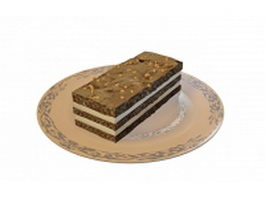 Chocolate cake on plate 3d model